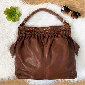 Lucky Brand Brown Leather Studded Hobo Bag